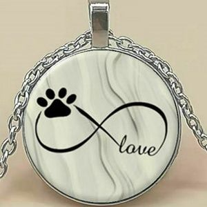 Necklace- NEW- Dog Cat Paw Print Love Forever